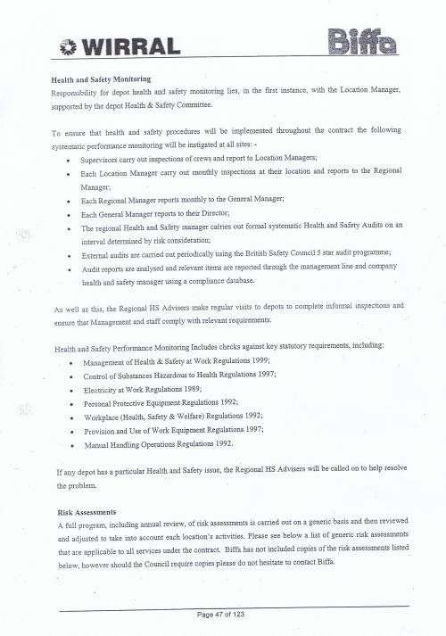 Wirral Council Environmental Streetscene Services Contract page 47 Method Statement 16 Health and Safety