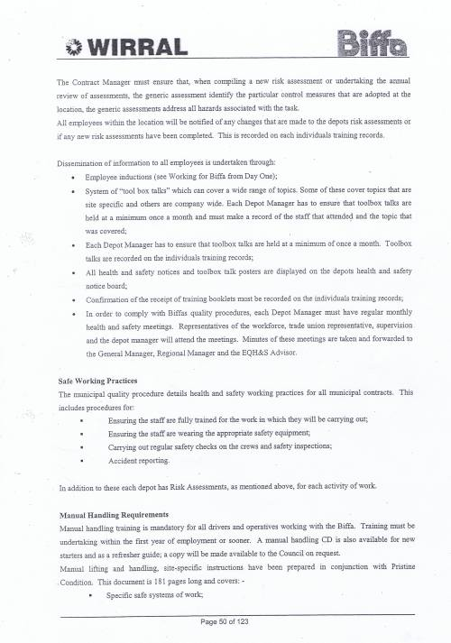 Wirral Council Environmental Streetscene Services Contract page 50 Method Statement 16 Health and Safety