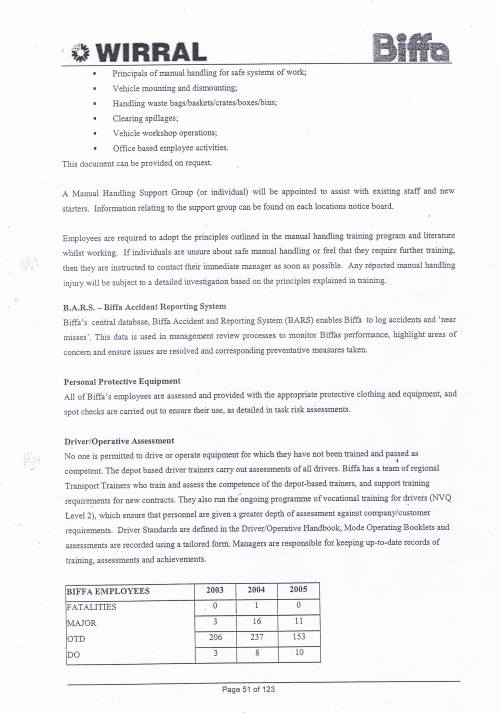 Wirral Council Environmental Streetscene Services Contract page 51 Method Statement 16 Health and Safety