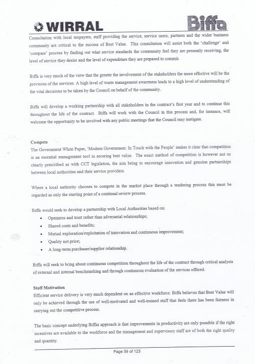 Wirral Council Environmental Streetscene Services Contract page 59 Method Statement 19 Best Value Performance Indicators