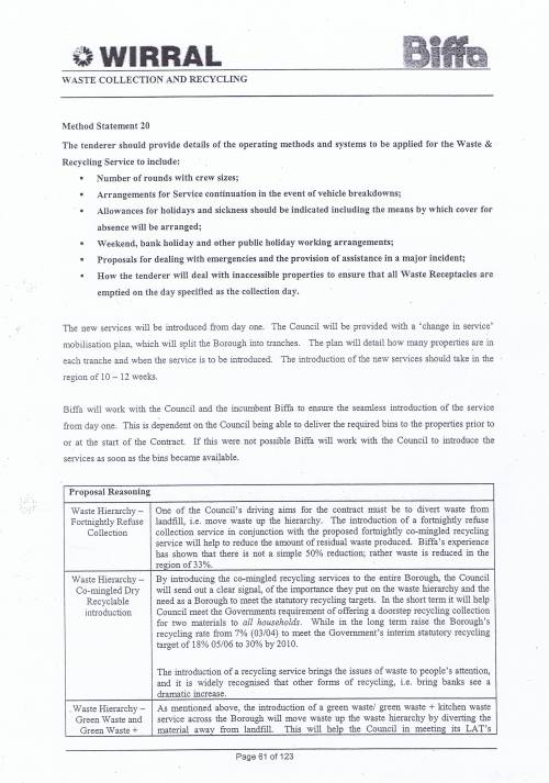 Wirral Council Environmental Streetscene Services Contract page 61 Method Statement 20 Operating Methods and Systems