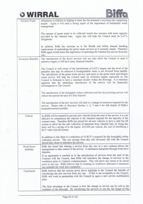 Wirral Council Environmental Streetscene Services Contract page 62 Method Statement 20 Operating Methods and Systems