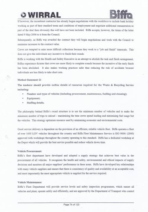 Wirral Council Environmental Streetscene Services Contract page 74 Method Statement 21 Resources