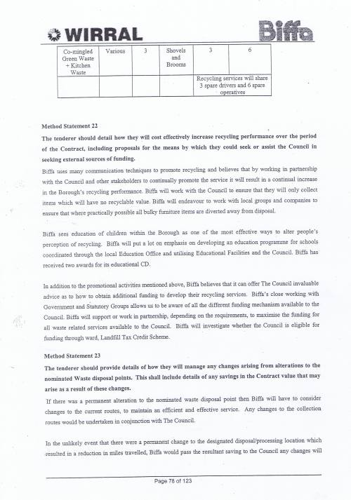 Wirral Council Environmental Streetscene Services Contract page 78 Method Statement 22 Recycling Performance Method Statement 23 Waste disposal points