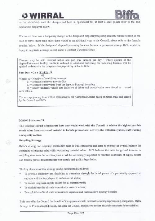 Wirral Council Environmental Streetscene Services Contract page 79 Method Statement 23 Waste disposal points Method Statement 24 Resale value recovered material