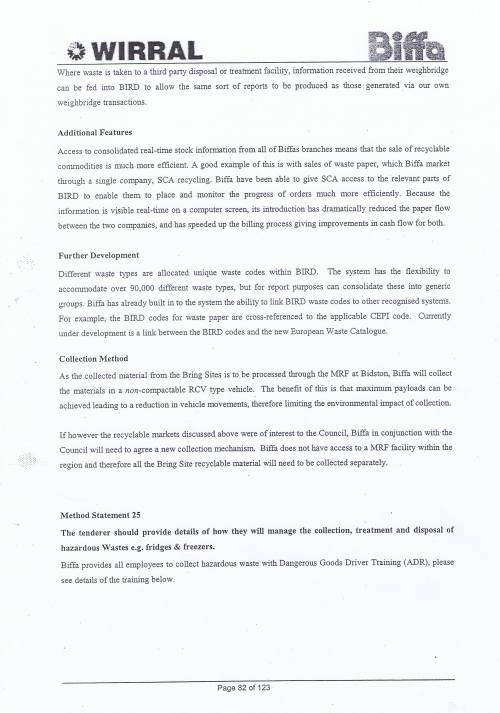 Wirral Council Environmental Streetscene Services Contract page 82 Method Statement 24 Resale value recovered material Method Statement 25 Hazardous Waste