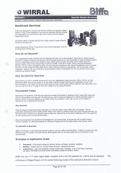 Wirral Council Environmental Streetscene Services Contract page 84 Method Statement 25 Hazardous Waste