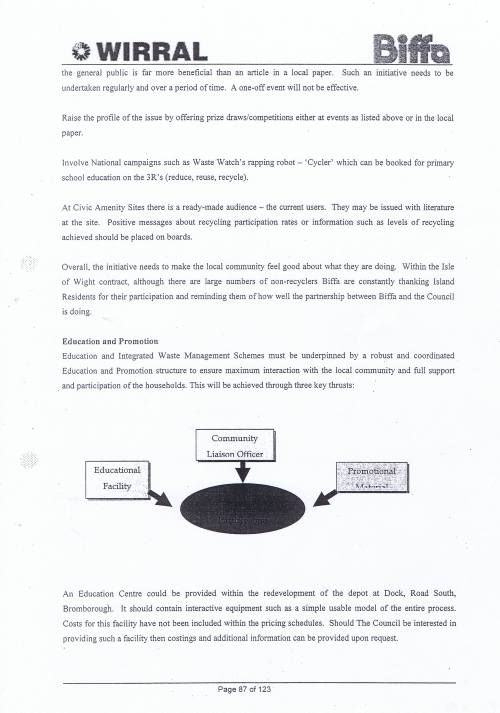 Wirral Council Environmental Streetscene Services Contract page 87 Method Statement 26 Recycling
