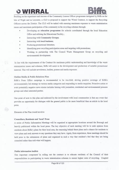 Wirral Council Environmental Streetscene Services Contract page 88 Method Statement 26 Recycling