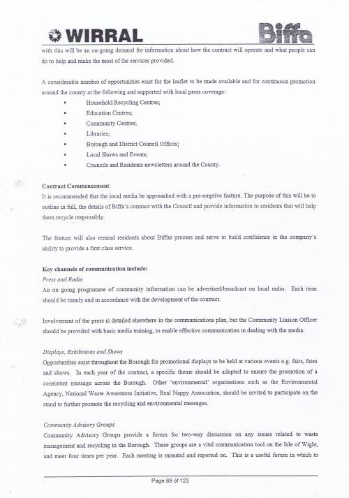 Wirral Council Environmental Streetscene Services Contract page 89 Method Statement 26 Recycling