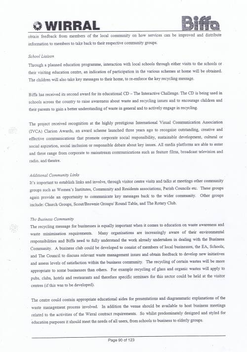 Wirral Council Environmental Streetscene Services Contract page 90 Method Statement 26 Recycling