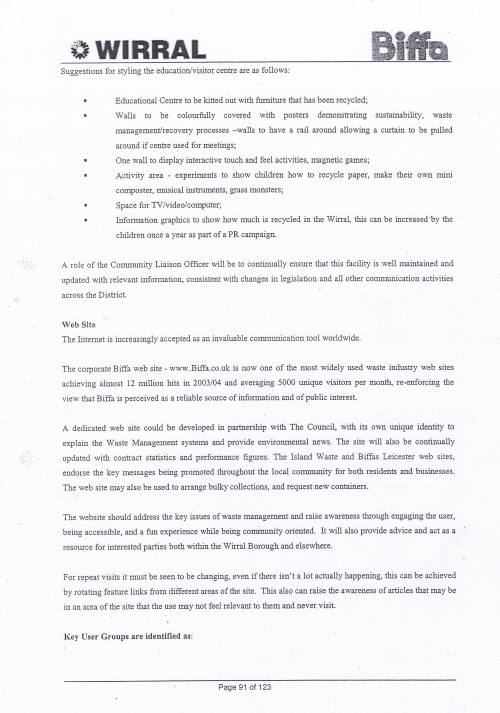 Wirral Council Environmental Streetscene Services Contract page 91 Method Statement 26 Recycling
