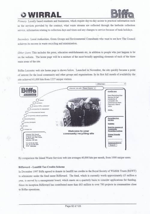 Wirral Council Environmental Streetscene Services Contract page 92 Method Statement 26 Recycling