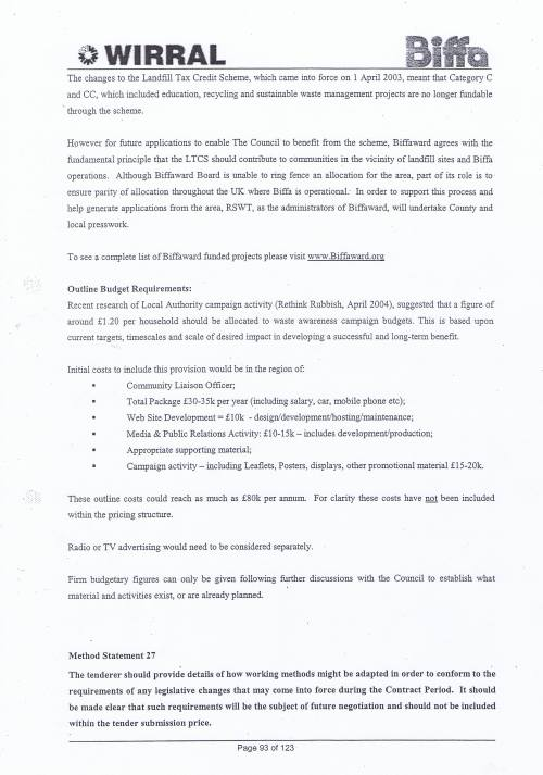 Wirral Council Environmental Streetscene Services Contract page 93 Method Statement 26 Recycling Method Statement 27 Legislation Changes