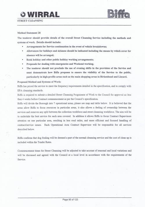 Wirral Council Environmental Streetscene Services Contract page 95 Method Statement 28 Street Cleansing Service