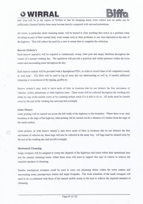 Wirral Council Environmental Streetscene Services Contract page 97 Method Statement 28 Street Cleansing Service