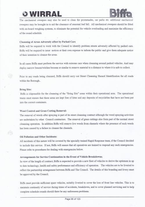 Wirral Council Environmental Streetscene Services Contract page 98 Method Statement 28 Street Cleansing Service