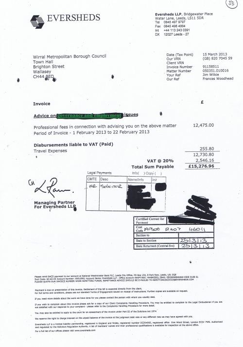 Wirral Council invoice Eversheds £15276.96 15th March 2013