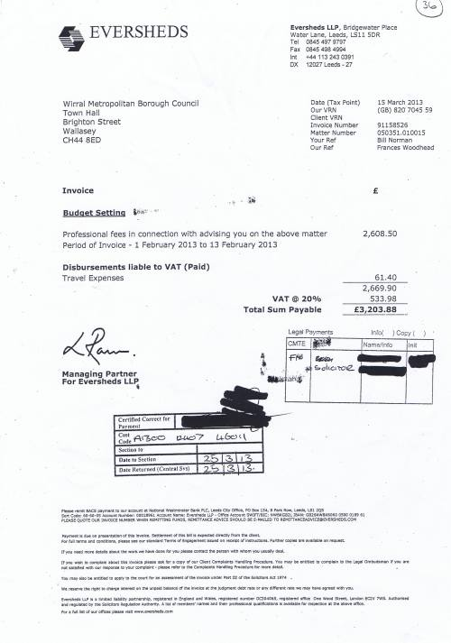 Wirral Council invoice Eversheds £3203.88 15th March 2013