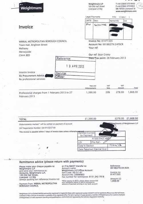 Wirral Council invoice Weightmans £1668 28th February 2013