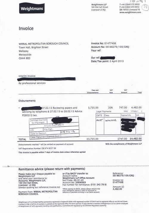 Wirral Council invoice Weightmans £4482 2nd April 2013