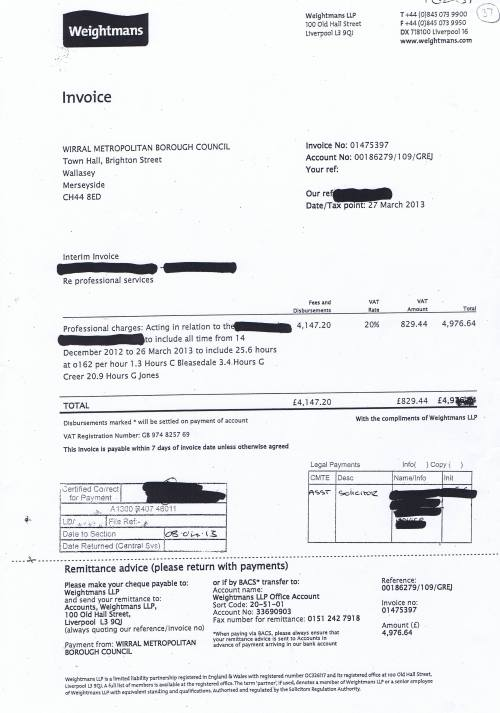 Wirral Council invoice Weightmans £4976.64 27th Match 2013
