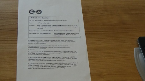 Decision to extend DHA contract in 2009 by Merseyside Waste Disposal Authority page 1 of 2