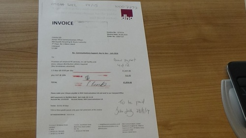 DHA Communications Ltd invoice to Merseyside Recycling and Waste Authority invoice 4
