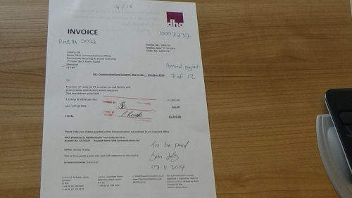 DHA Communications Ltd invoice to Merseyside Recycling and Waste Authority invoice 6
