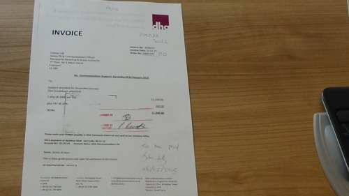 DHA Communications Ltd invoice to Merseyside Recycling and Waste Authority invoice 7