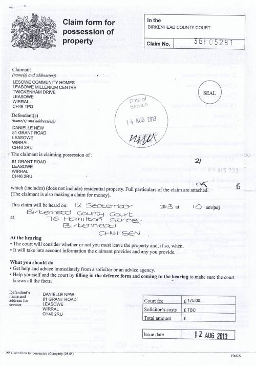 Leasowe Community Homes v Danielle New Claim form for possession of property Page 1 of 2