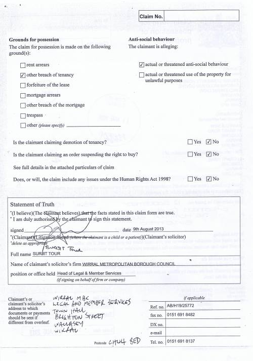 Leasowe Community Homes v Danielle  New Claim form for possession of property Page 2 of 2