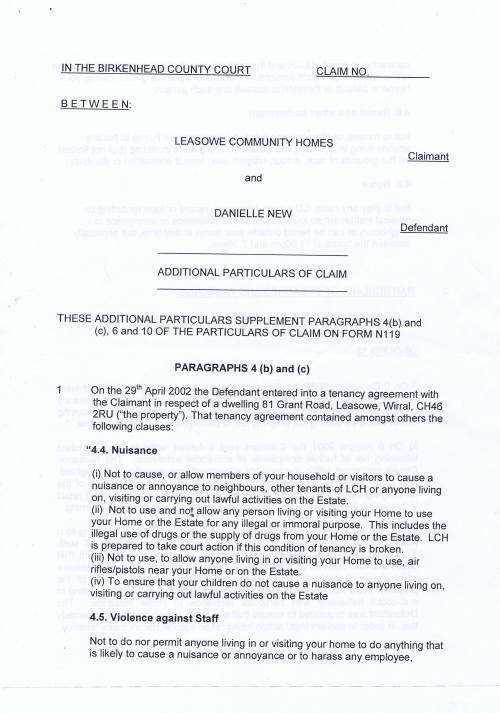 Leasowe Community Homes v Danielle New New Additional Particulars of Claim Page 1 of 10