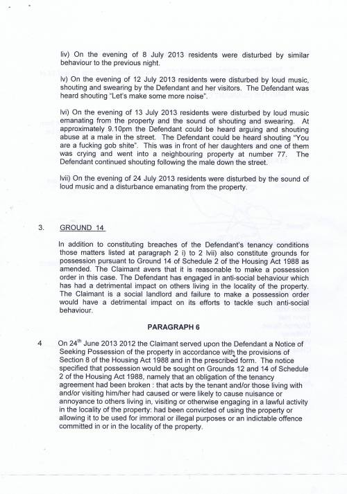 Leasowe Community Homes v Danielle New Additional Particulars of Claim Page 9 of 10