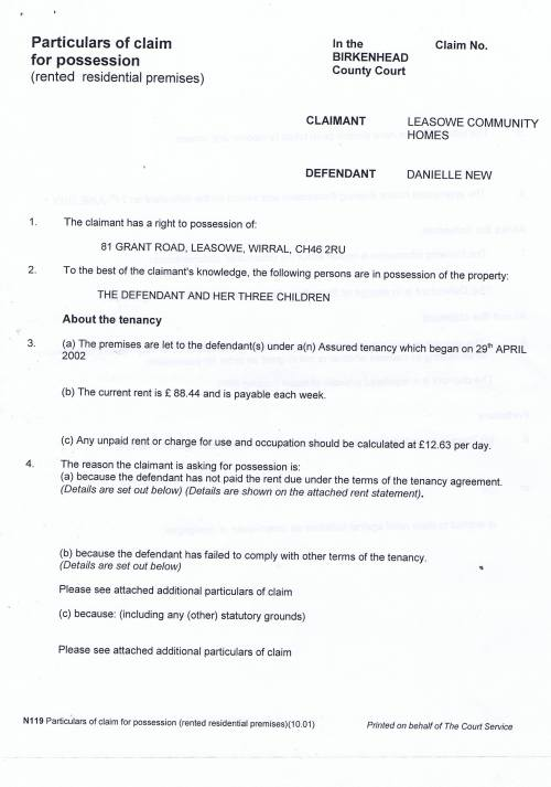 Leasowe Community Homes v Danielle  New Particulars of Claim for possession (rented residential premises) Page 1 of 4