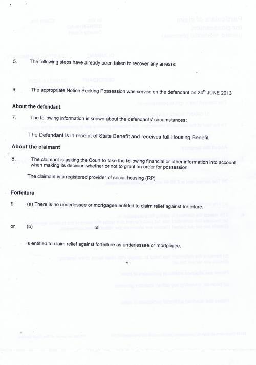 Leasowe Community Homes v Danielle  New Particulars of Claim for possession (rented residential premises) Page 2 of 4