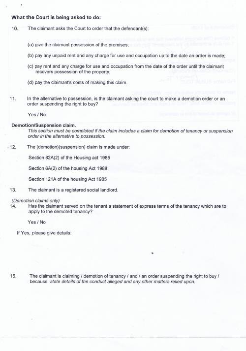 Leasowe Community Homes v Danielle  New Particulars of Claim for possession (rented residential premises) Page 3 of 4