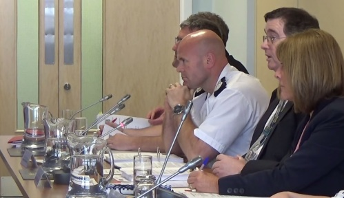 Merseyside Fire and Rescue Authority 30th June 2015 L to R Kieran Timmins (Deputy Chief Executive), Phil Garrigan (Deputy Chief Fire Officer), Dan Stephens (Chief Fire Officer), Cllr Byrom (Vice-Chair), Janet Henshaw (Monitoring Officer)