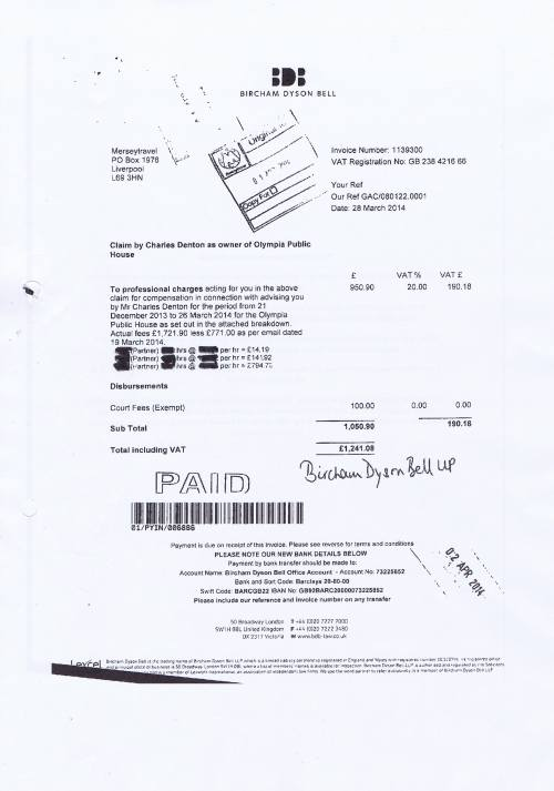 Merseytravel invoice Bircham Dyson Bell £1241.08 Claim by Charles Denton as owner of Olympia Public House 28th March 2014