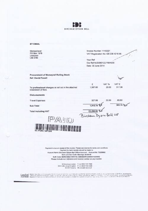Merseytravel invoice Bircham Dyson Bell £2298.95 30th June 2014 Page 1 of 2