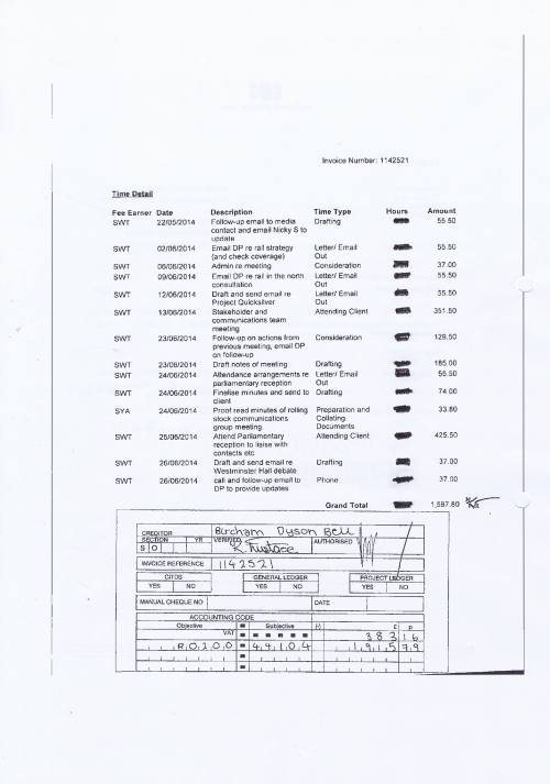 Merseytravel invoice Bircham Dyson Bell £2298.95 30th June 2014 Page 2 of 2
