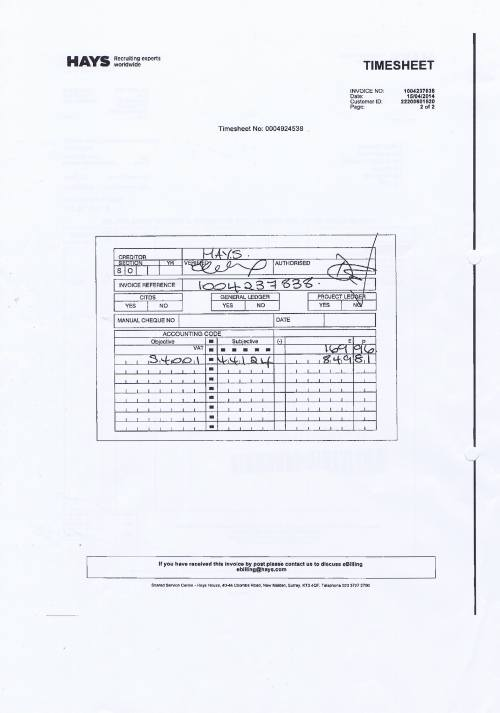 Merseytravel invoice Hays £1019.77 assistant senior accountant 15th April 2014 timesheet