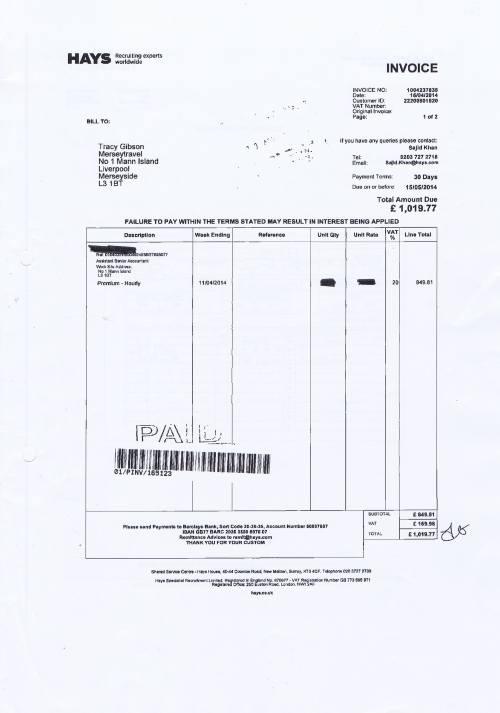 Merseytravel invoice Hays £1019.77 assistant senior accountant 15th April 2014