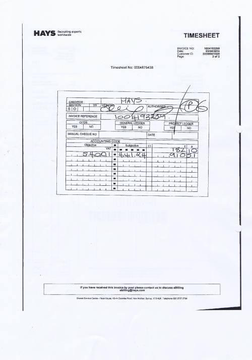 Merseytravel invoice Hays £1092.61 assistant senior accounant 3rd April 2014 timesheet