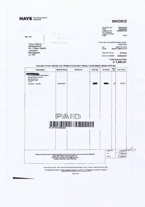 Merseytravel invoice Hays £1092.61 assistant senior accountant 3rd April 2014