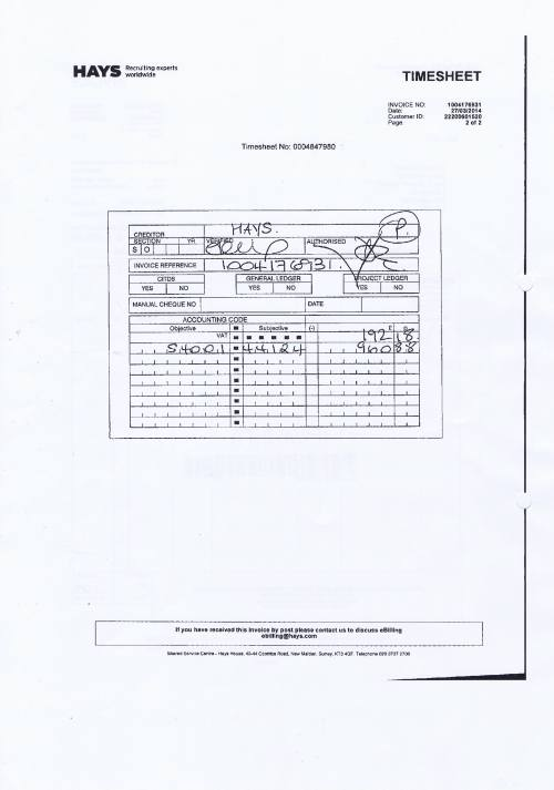 Merseytravel invoice Hays £1153.06 assistant senior accountant 27th March 2014 timesheet