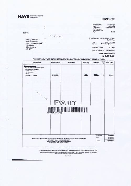 Merseytravel invoice Hays £1153.06 assistant senior accountant 27th March 2014