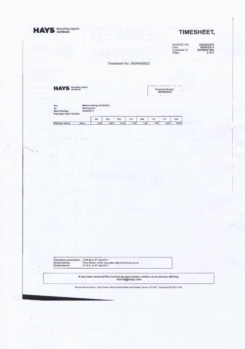 Merseytravel invoice Hays £1274.71 assistant senior accountant 9th April 2014 timesheet