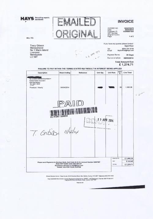 Merseytravel invoice Hays £1274.71 assistant senior accountant 9th April 2014