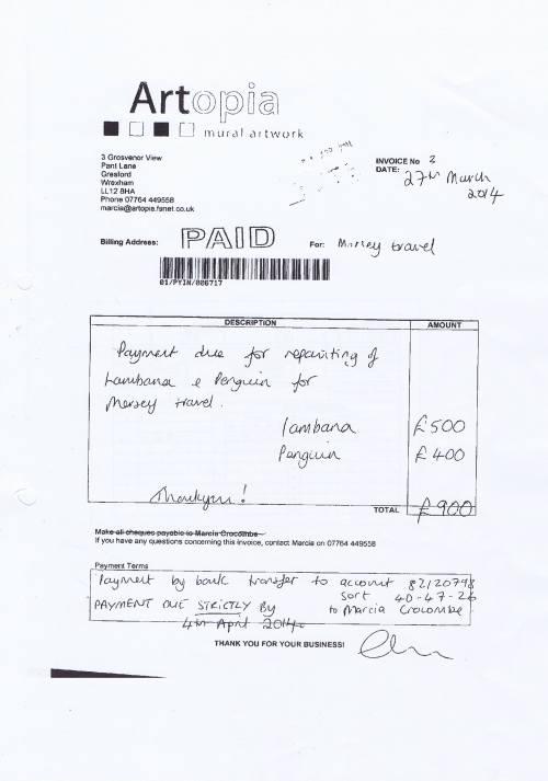 Merseytravel invoice repainting Lambanana Artopia £900 27th March 2014